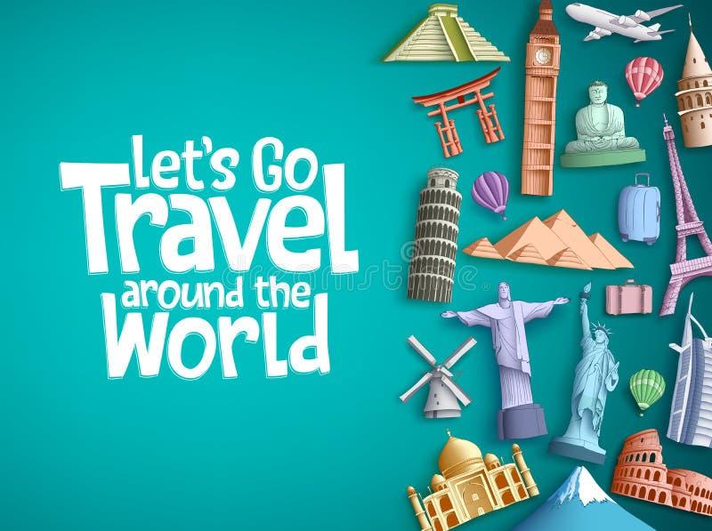 Ταξίδι γύρω από το σχέδιο παγκόσμιου διανυσματικό υποβάθρου με τα διάσημα στοιχεία ορόσημων τουρισμού και παγκόσμιας έλξης διανυσματική απεικόνιση