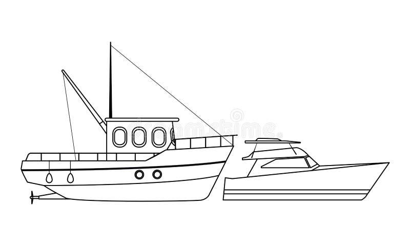 Ταξίδι θάλασσας αλιευτικών σκαφών και yatch γραπτός ελεύθερη απεικόνιση δικαιώματος