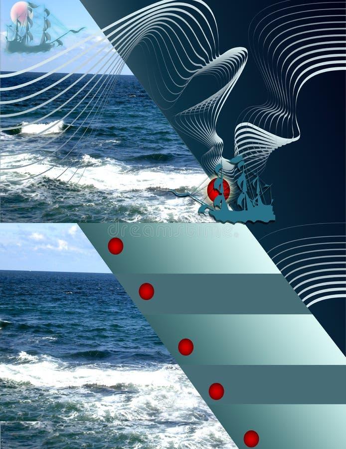 Ταξίδι θάλασσας, κρουαζιέρες και περίπατοι Ιπτάμενα και πληροφορίες Fondlya διανυσματική απεικόνιση