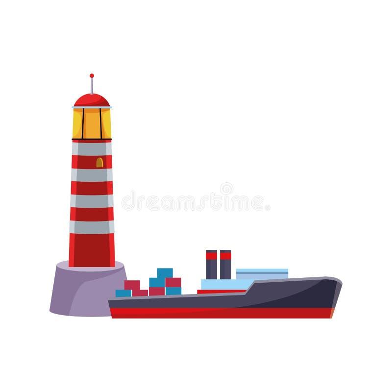 Ταξίδι θάλασσας φάρων Shoreside και σκάφος εμπορευματοκιβωτίων διανυσματική απεικόνιση