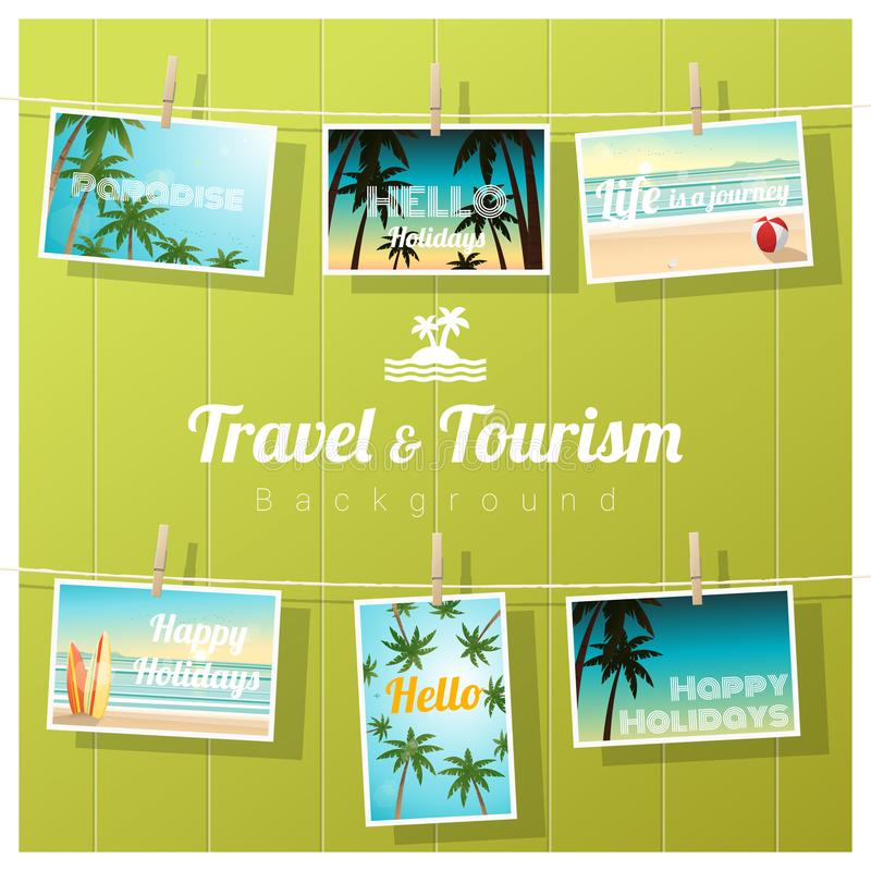Ταξίδι και τουρισμός, τροπικές κάρτες θάλασσας που επιδεικνύονται στο ζωηρόχρωμο υπόβαθρο απεικόνιση αποθεμάτων