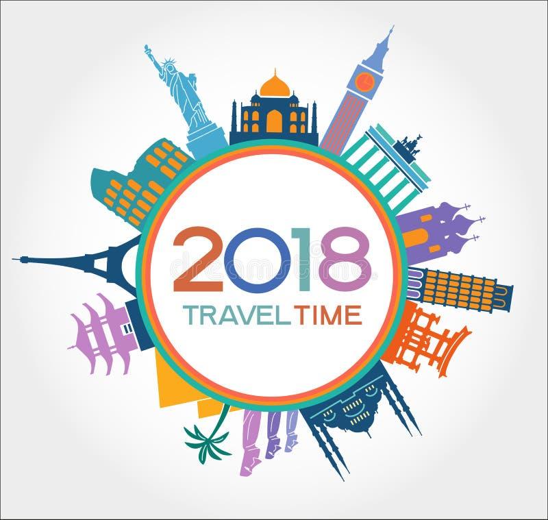 Ταξίδι και υπόβαθρο σχεδίου καλής χρονιάς 2018 με τα εικονίδια και τα ορόσημα τουρισμού ελεύθερη απεικόνιση δικαιώματος