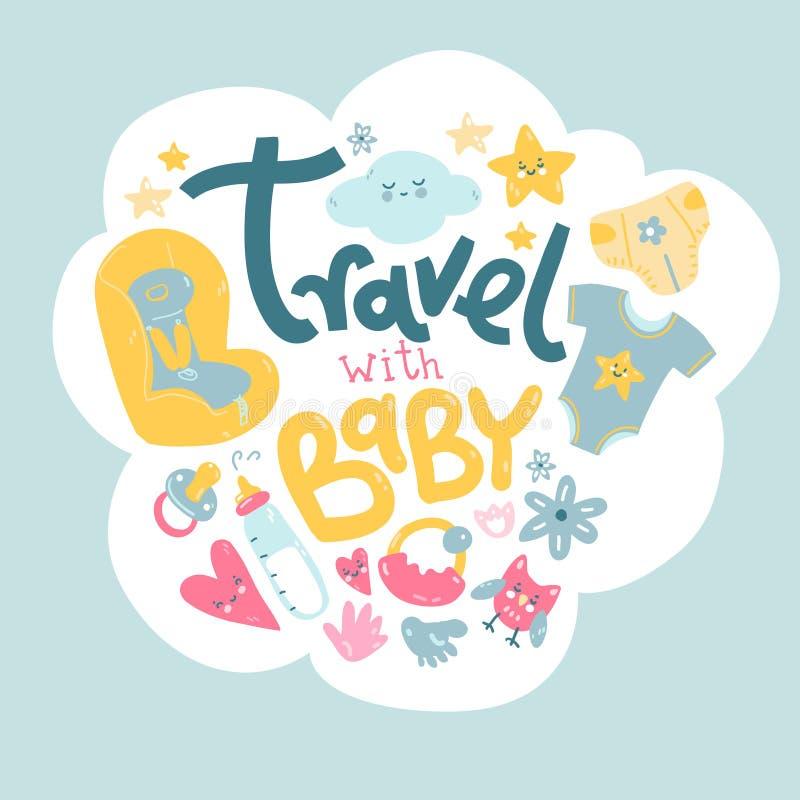Ταξίδι με το μωρό Τι να πάρει με σας σε ένα ταξίδι ελεύθερη απεικόνιση δικαιώματος