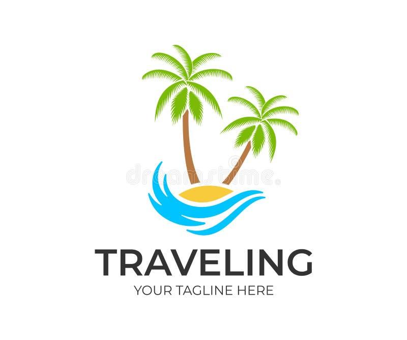 Ταξίδι, ταξίδι, παραλία και φοίνικες στο νησί με το κύμα, πρότυπο λογότυπων Ταξίδι, αναψυχή και διακοπές στο θέρετρο και το tropi απεικόνιση αποθεμάτων