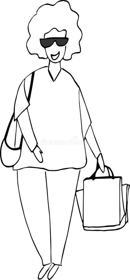 Ταξίδι περιπέτειας γυναικών ή ταξίδι στρατοπέδευσης E απεικόνιση αποθεμάτων