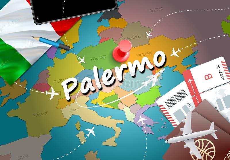 Ταξίδι πόλεων του Παλέρμου και έννοια προορισμού τουρισμού διαθέσιμο διάνυσμα ύφους της Ιταλίας γυαλιού σημαιών ελεύθερη απεικόνιση δικαιώματος