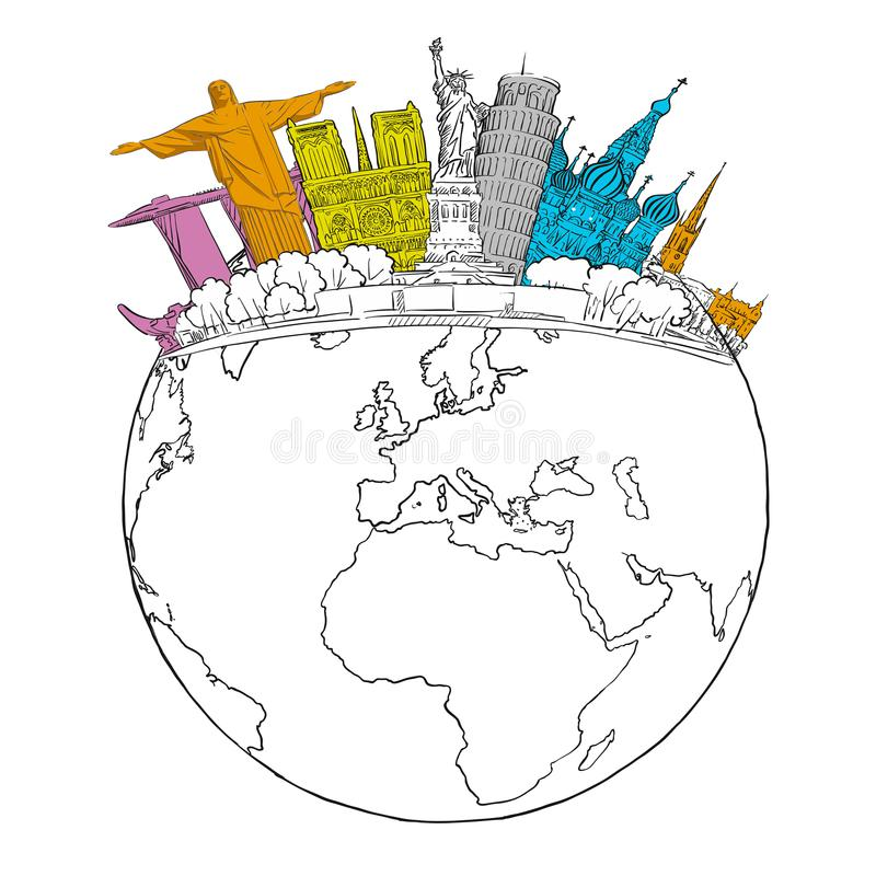 Ταξίδι στα παγκόσμια ορόσημα στη σφαίρα απεικόνιση αποθεμάτων