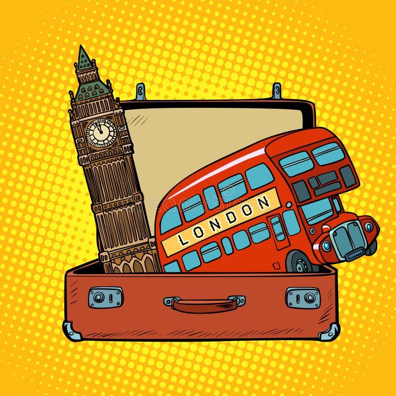 Ταξίδι στην έννοια της Αγγλίας Βαλίτσα με τις θέες του Λονδίνου ελεύθερη απεικόνιση δικαιώματος