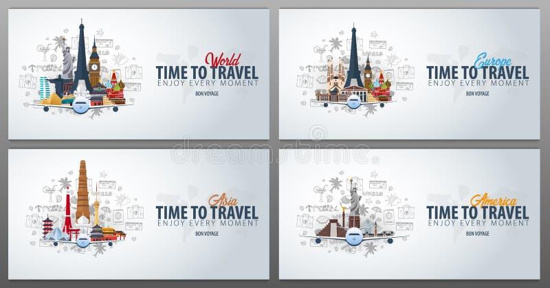 Ταξίδι στην Ευρώπη, την Ασία και την Αμερική χρόνος να ταξιδεψει Το έμβλημα με το αεροπλάνο και χέρι-σύρει doodles στο υπόβαθρο δ διανυσματική απεικόνιση