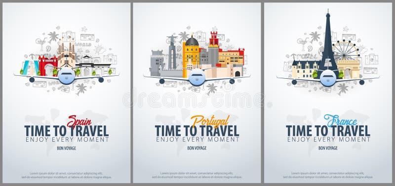 Ταξίδι στην Ισπανία, την Πορτογαλία και τη Γαλλία χρόνος να ταξιδεψει Το έμβλημα με το αεροπλάνο και χέρι-σύρει doodles στο υπόβα απεικόνιση αποθεμάτων