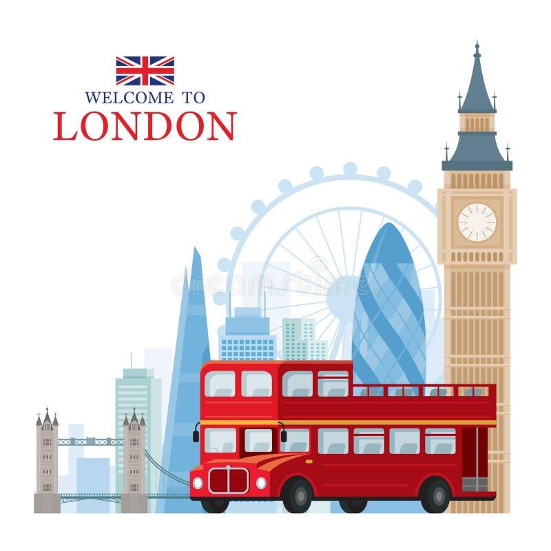 Ταξίδι του Λονδίνου, της Αγγλίας και του Ηνωμένου Βασιλείου και τουριστικό αξιοθέατο ελεύθερη απεικόνιση δικαιώματος