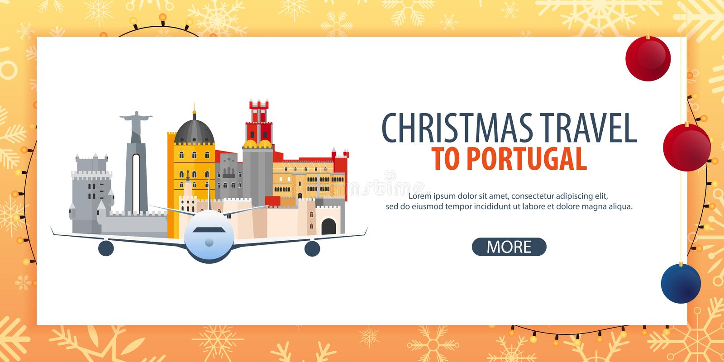Ταξίδι Χριστουγέννων στην Πορτογαλία Χιόνι και βράχοι βαρκών επίσης corel σύρετε το διάνυσμα απεικόνισης απεικόνιση αποθεμάτων