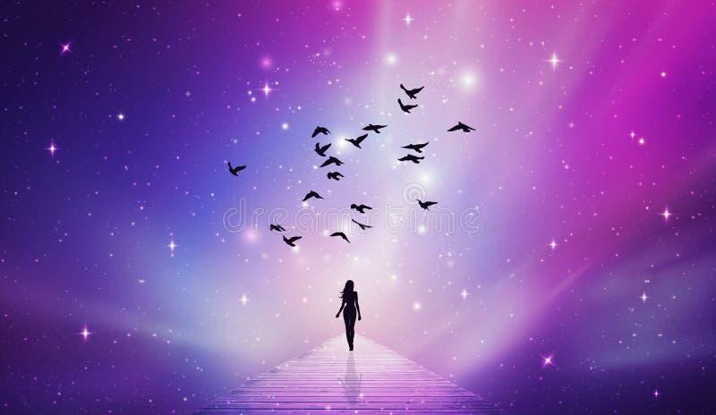 Ταξίδι ψυχής, ουρανός κόσμου, αστέρια, ουρανός, τρόπος, πορεία στο Θεό διανυσματική απεικόνιση