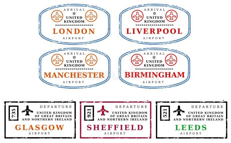 ταξίδι UK γραμματοσήμων διανυσματική απεικόνιση