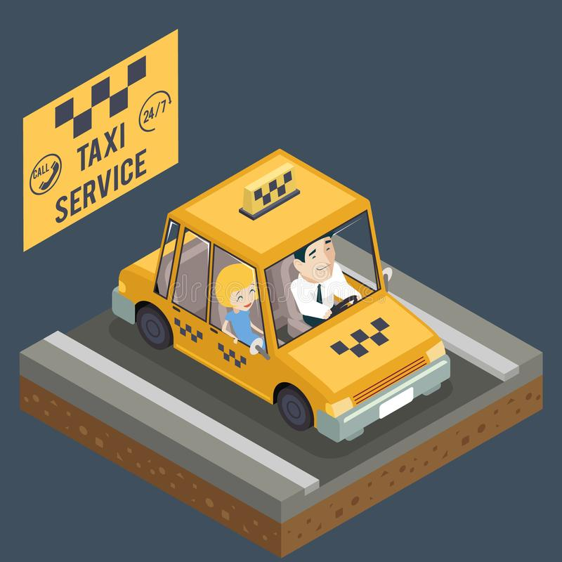 Ταξί αυτοκινήτων ταξιδιού κίτρινο αμαξιών μεταφορών διάνυσμα εικονιδίων έννοιας οδικού Isometric τρισδιάστατο επίπεδο σχεδίου πόλ ελεύθερη απεικόνιση δικαιώματος