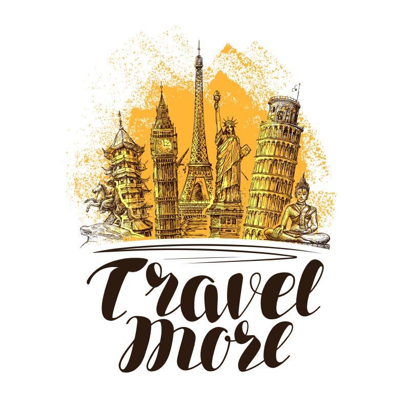 Ταξίδι, έμβλημα ταξιδιών Διάσημα παγκόσμια ορόσημα Διανυσματική απεικόνιση σκίτσων ελεύθερη απεικόνιση δικαιώματος