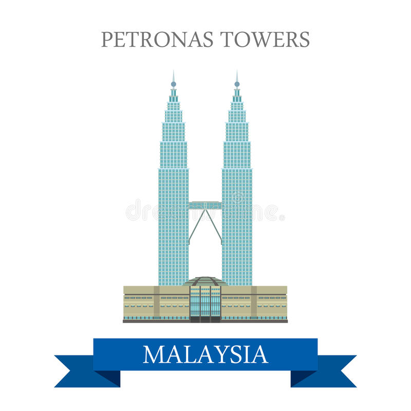 Ταξίδι έλξης της Κουάλα Λουμπούρ Μαλαισία δίδυμων πύργων Petronas διανυσματική απεικόνιση