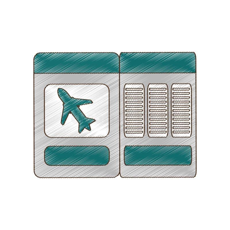 ταξίδι αεροπλάνων εισιτηρίων σχεδίων διανυσματική απεικόνιση