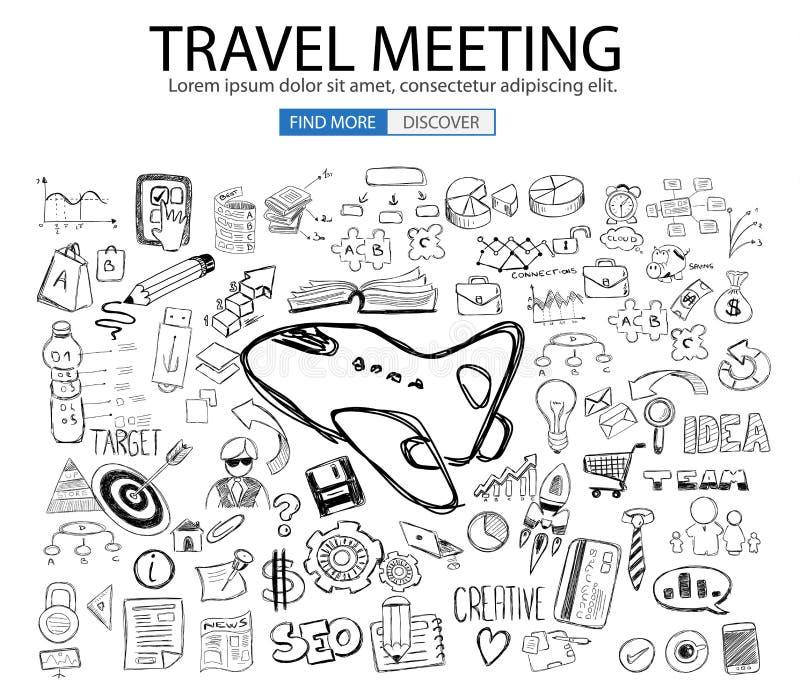 Ταξίδι για την επιχειρησιακή έννοια με το ύφος σχεδίου Doodle: εύρεση των διαδρομών ελεύθερη απεικόνιση δικαιώματος