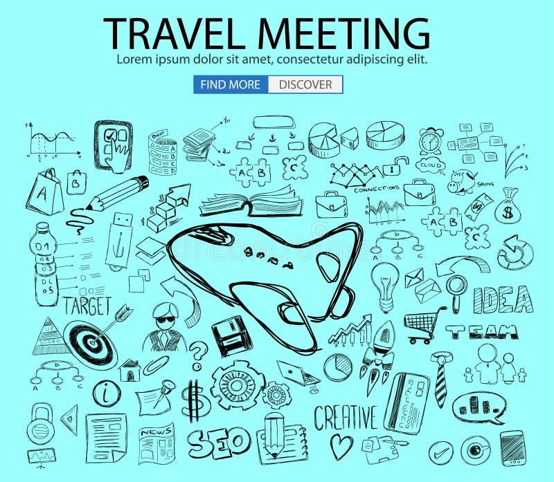 Ταξίδι για την επιχειρησιακή έννοια με το ύφος σχεδίου Doodle: εύρεση των διαδρομών διανυσματική απεικόνιση