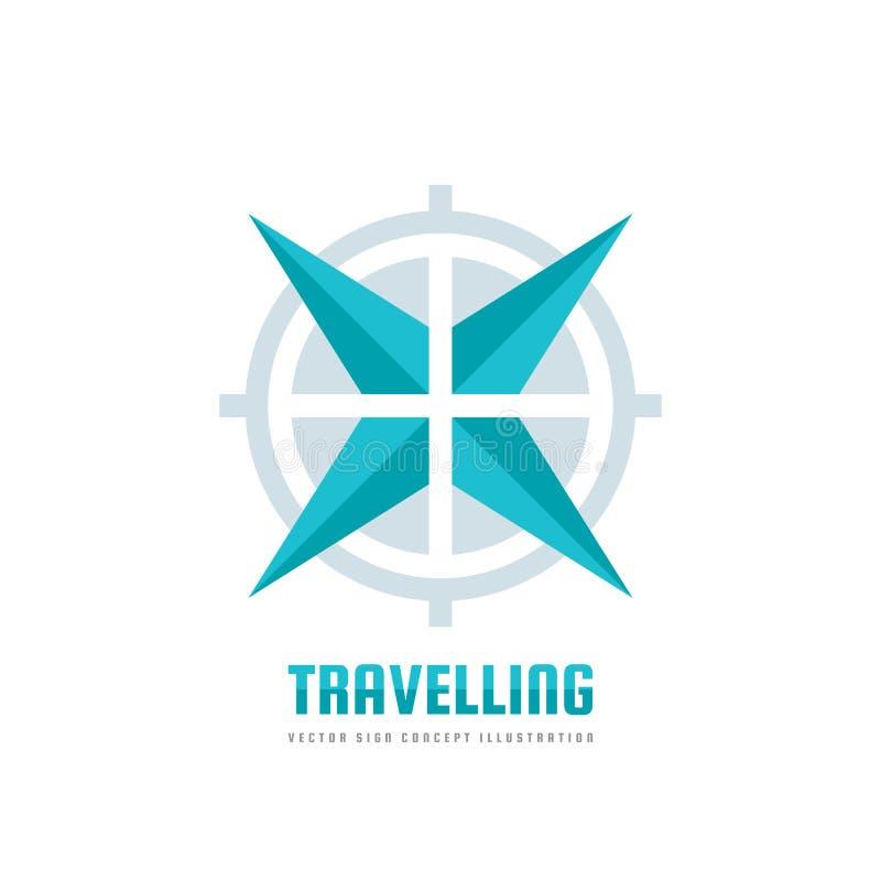Ταξίδι - διανυσματική απεικόνιση έννοιας προτύπων επιχειρησιακών λογότυπων Αφηρημένος αυξήθηκε του συμβόλου αέρα και στόχων Περιπ ελεύθερη απεικόνιση δικαιώματος