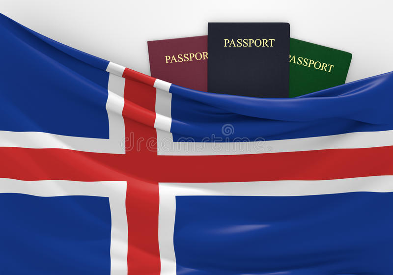 Ταξίδι και τουρισμός στην Ισλανδία, με τα ανάμεικτα διαβατήρια απεικόνιση αποθεμάτων