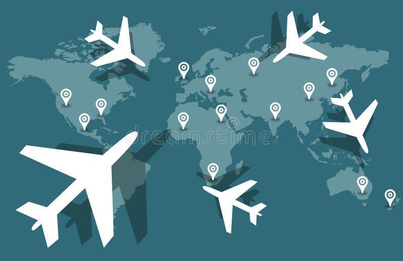 Ταξίδι παγκόσμιων αεροπλάνων διανυσματική απεικόνιση