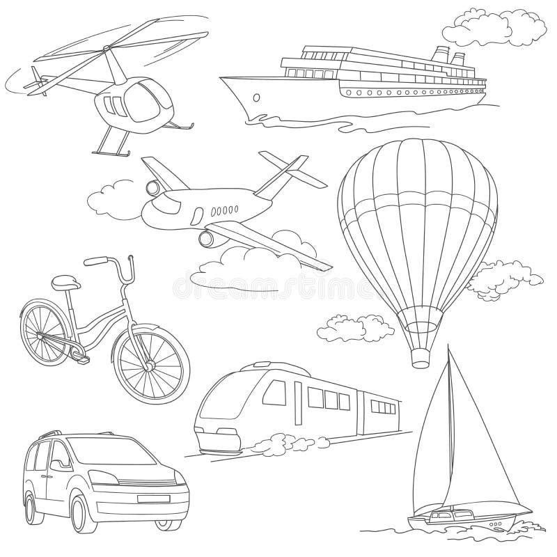 Ταξίδι που τίθεται με το αυτοκίνητο, αέρας-μπαλόνια, σκάφη, ποδήλατο ελεύθερη απεικόνιση δικαιώματος