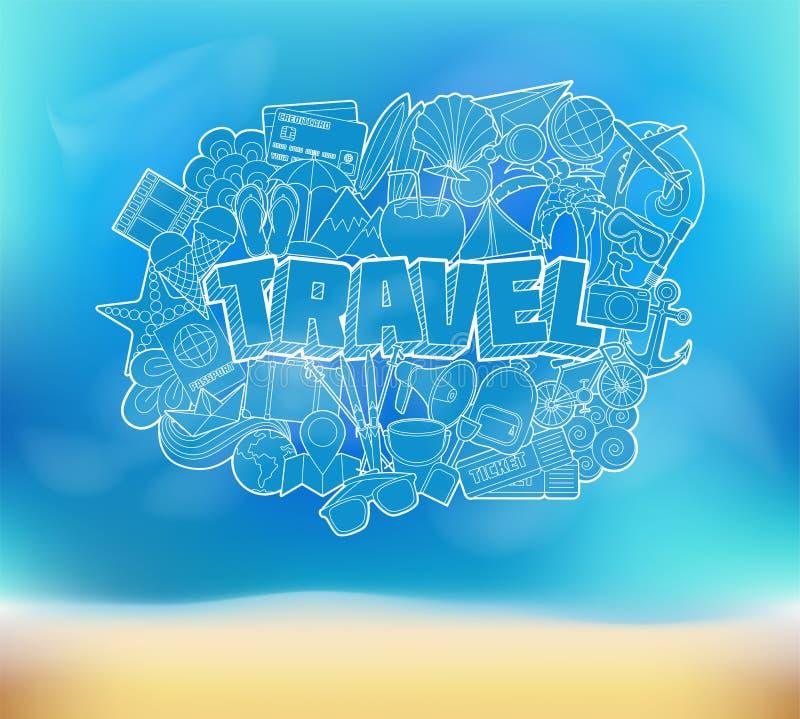 Ταξίδι - σκίτσο στοιχείων εγγραφής και Doodles χεριών σε μια παραλία Β απεικόνιση αποθεμάτων