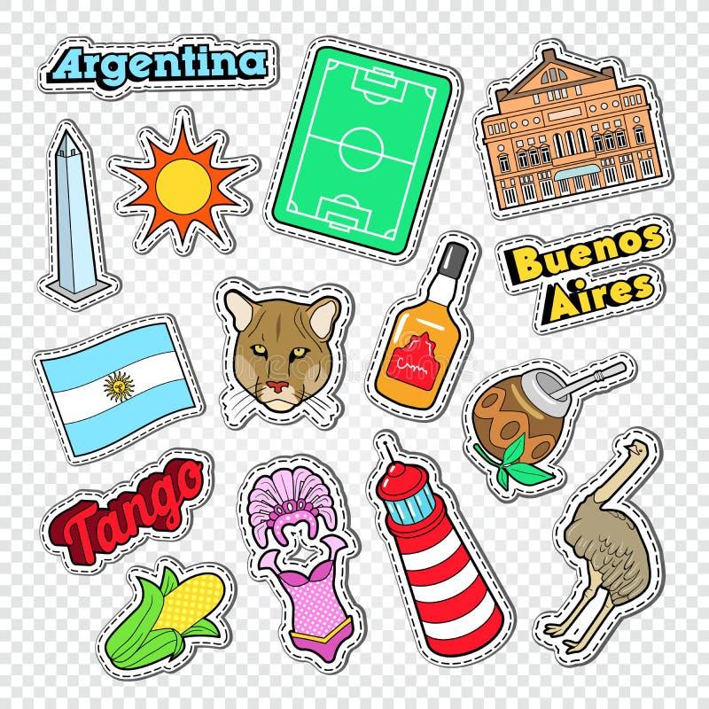 Ταξίδι στην Αργεντινή Doodle Αργεντινά αυτοκόλλητες ετικέττες, διακριτικά και μπαλώματα με τα ζώα και την αρχιτεκτονική διανυσματική απεικόνιση