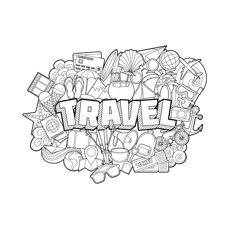 Ταξίδι - στοιχεία εγγραφής και Doodles χεριών ελεύθερη απεικόνιση δικαιώματος