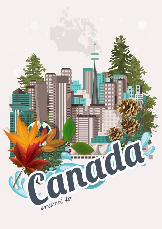 Ταξίδι στον Καναδά Καναδική διανυσματική απεικόνιση κόκκινος τρύγος ύφους κρίνων απεικόνισης Κάρτα ταξιδιού ελεύθερη απεικόνιση δικαιώματος
