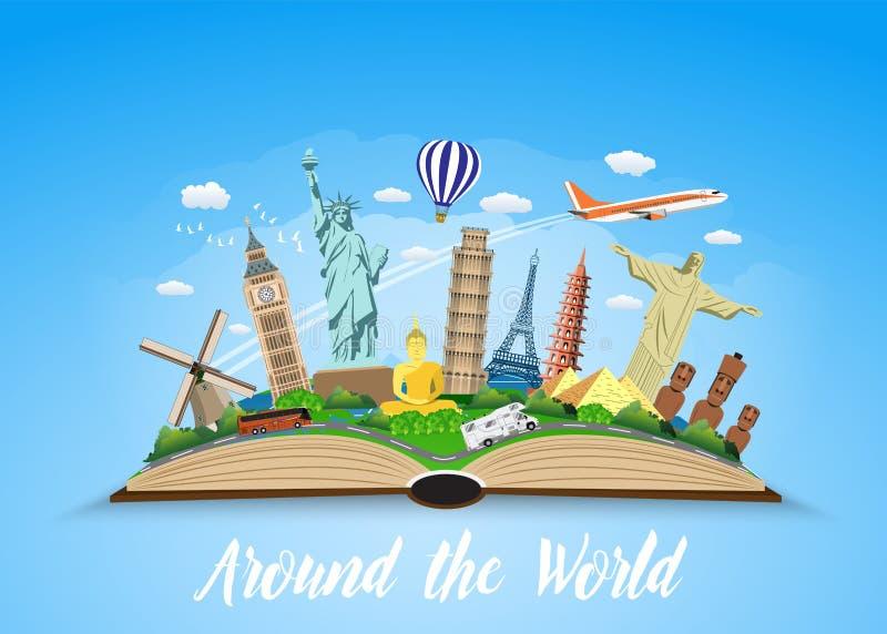 Ταξίδι στον κόσμο Οδικό ταξίδι απεικόνιση αποθεμάτων
