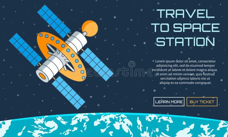 Ταξίδι στο διαστημικό σταθμό διανυσματική απεικόνιση