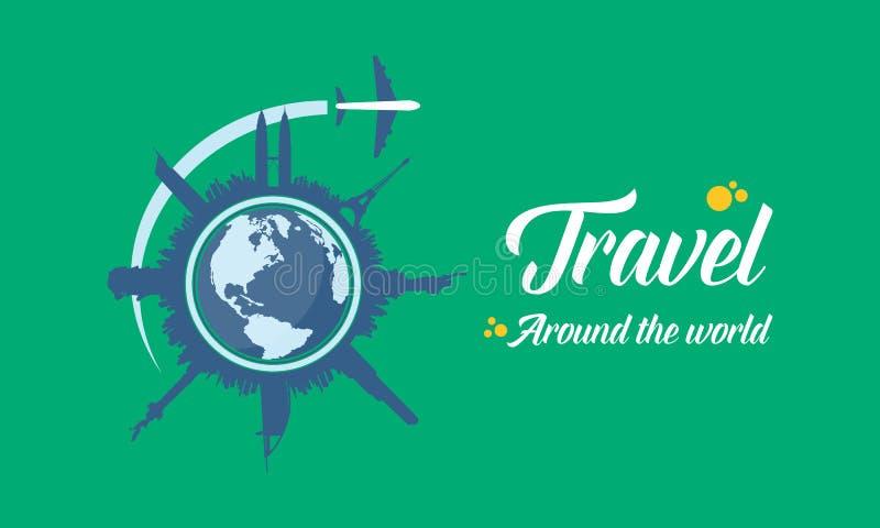 Ταξίδι στο παγκόσμιο υπόβαθρο ελεύθερη απεικόνιση δικαιώματος