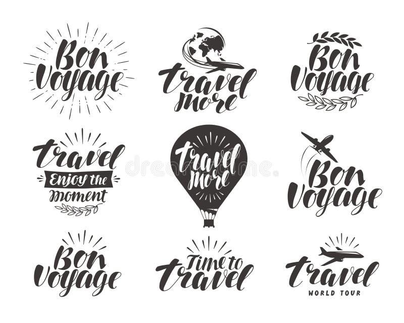 Ταξίδι, σύνολο ετικετών Σύμβολο ή εικονίδιο ταξιδιών Όμορφη χειρόγραφη γράφοντας διανυσματική απεικόνιση ελεύθερη απεικόνιση δικαιώματος