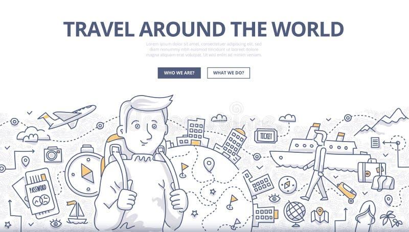 Ταξίδι της έννοιας παγκόσμιου Doodle διανυσματική απεικόνιση