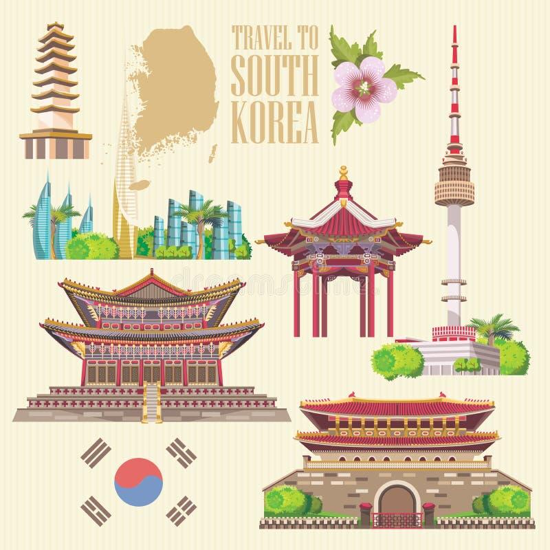 Ταξίδι της Νότιας Κορέας που τίθεται με τις παγόδες και τα σύγχρονα κτήρια Έμβλημα ταξιδιών της Κορέας με τα κορεατικά αντικείμεν απεικόνιση αποθεμάτων
