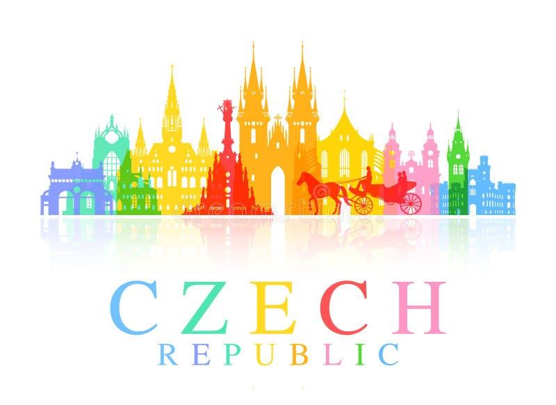 Ταξίδι της Πράγας, Δημοκρατία της Τσεχίας διανυσματική απεικόνιση