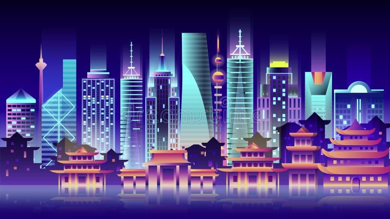 Ταξίδι χωρών κωμοπόλεων κτηρίων αρχιτεκτονικής ύφους νέου νύχτας πόλεων της Κίνας διανυσματική απεικόνιση
