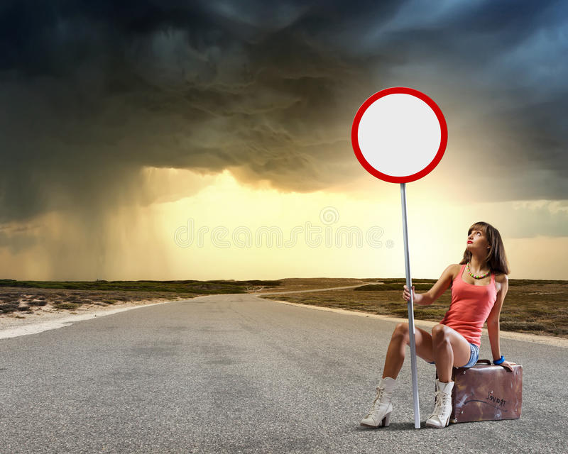 Ταξίδι Autostop στοκ εικόνα με δικαίωμα ελεύθερης χρήσης