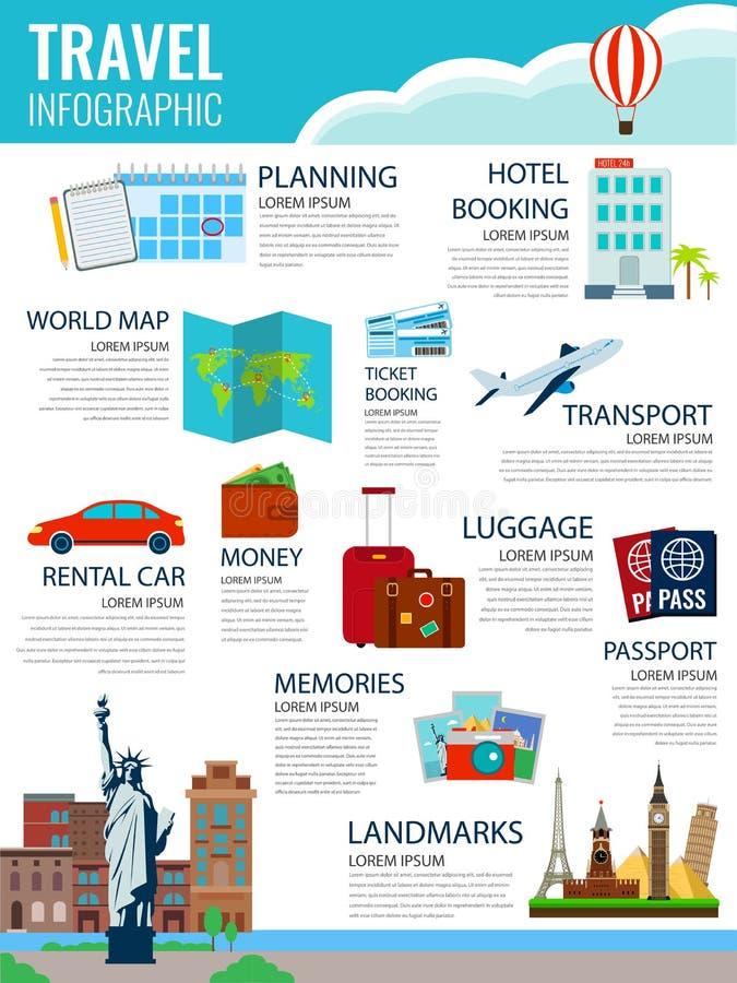 Ταξίδι Infographic Infographics για την επιχείρηση, ιστοχώροι, παρουσιάσεις, διαφήμιση διανυσματική απεικόνιση