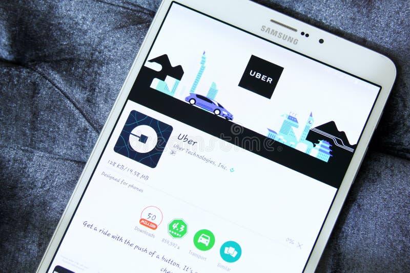 Ταξί app Uber στο παιχνίδι google στοκ εικόνα με δικαίωμα ελεύθερης χρήσης