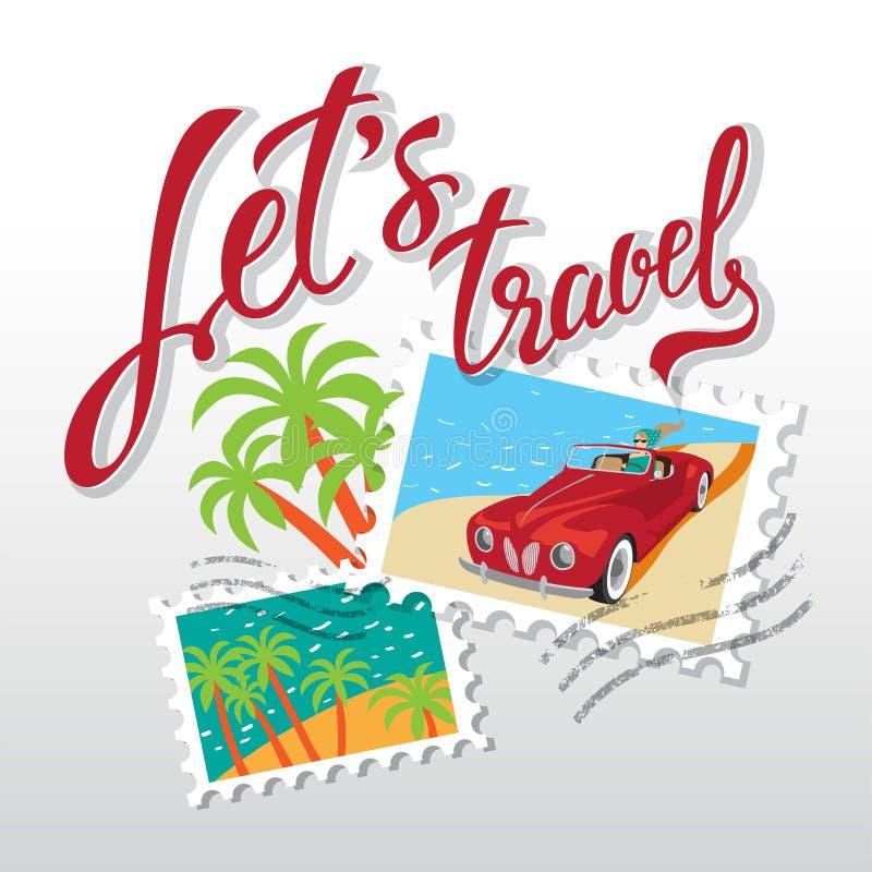 Ταξιδεψτε συρμένη τη χέρι εγγραφή Απεικόνιση με το κορίτσι στο κόκκινο αυτοκίνητο διανυσματική απεικόνιση