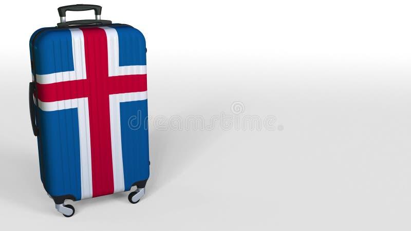 Ταξιδιωτική ` s βαλίτσα που χαρακτηρίζει τη σημαία της Ισλανδίας Ισλανδική εννοιολογική τρισδιάστατη απόδοση τουρισμού, κενό διάσ ελεύθερη απεικόνιση δικαιώματος
