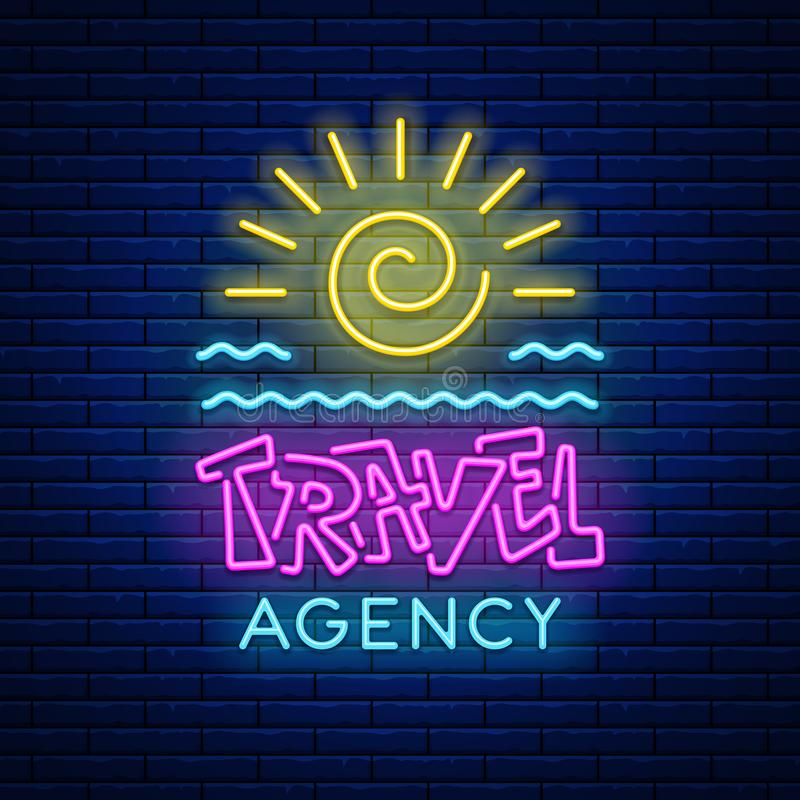 Ταξιδιωτικό γραφείο σημαδιών νέου διανυσματική απεικόνιση