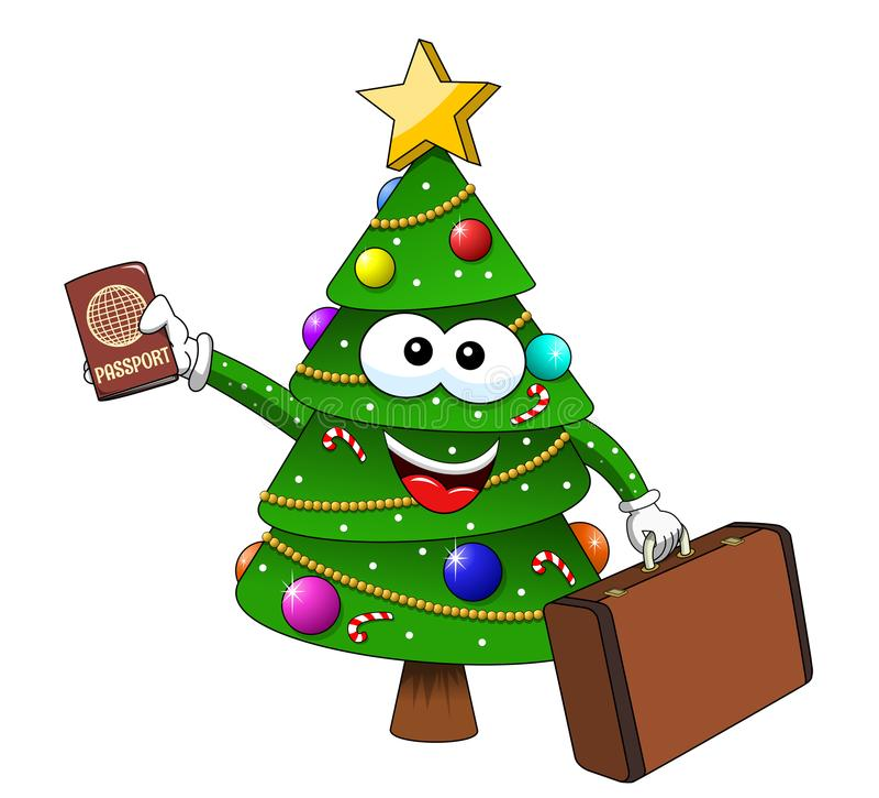 Ταξιδιώτης βαλιτσών διαβατηρίων χαρακτήρα μασκότ χριστουγεννιάτικων δέντρων Χριστουγέννων που απομονώνεται απεικόνιση αποθεμάτων