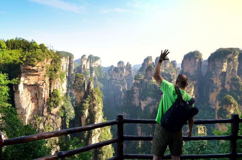 Ταξιδιώτης που απολαμβάνει καταπληκτικός το εθνικό πάρκο Zhangjiajie άποψης στοκ εικόνες