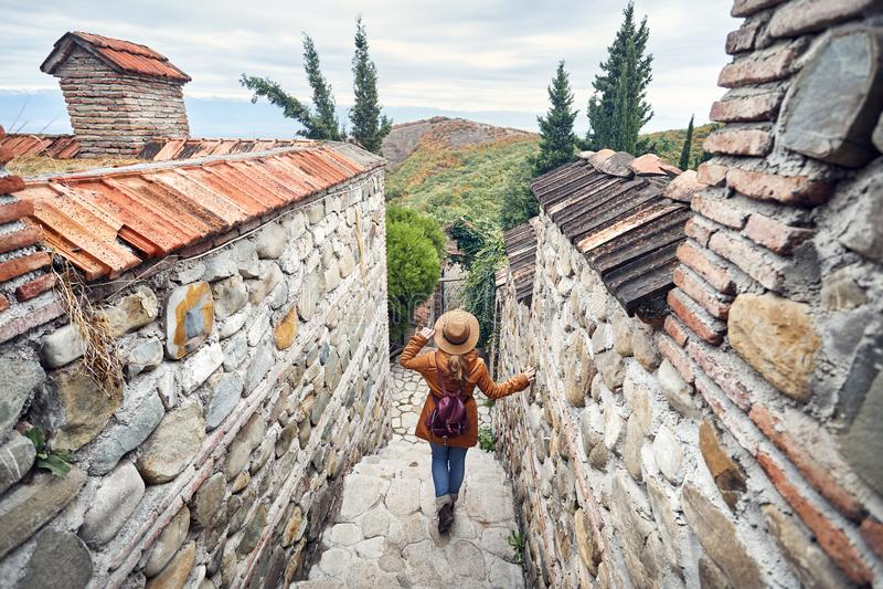 Ταξιδιώτης στη Γεωργία στοκ εικόνες