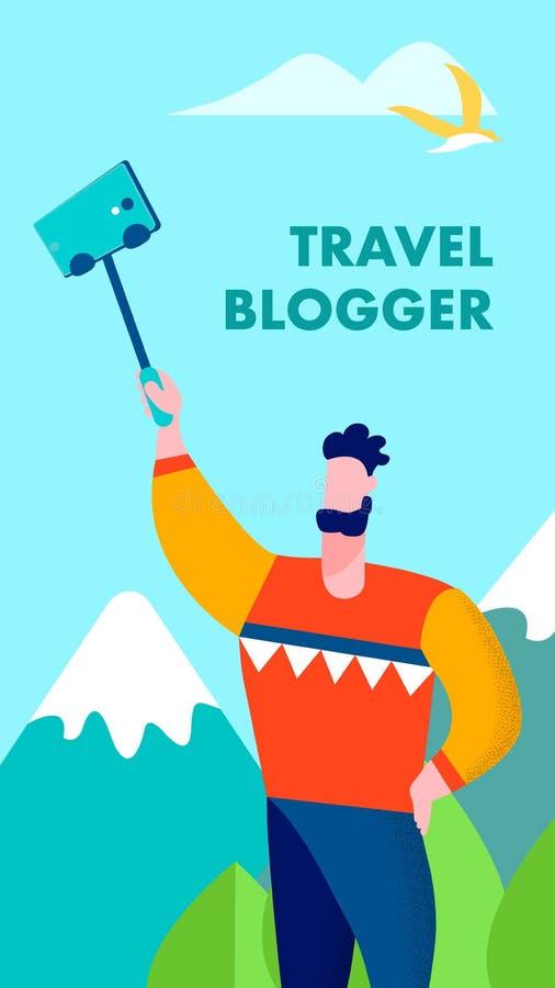 Ταξιδιώτης Blogger που μοιράζεται τις μνήμες στην κάρτα ιστοριών απεικόνιση αποθεμάτων